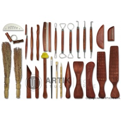 Sada keramického nářadí komplet 27 ks - centrování kachlice dřevěnou čepelí