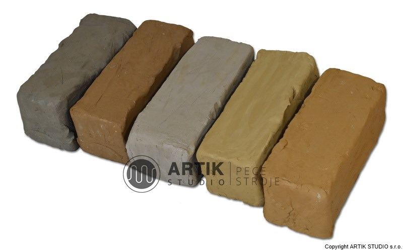 Various types of ceramic clay (modelling clay, pottery clay, various colours)